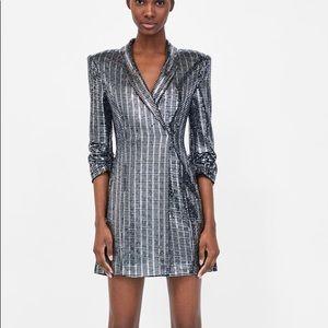 4fb6d085 Zara Dresses | Sale Hurry Metallic Sequins Blazer Dress | Poshmark